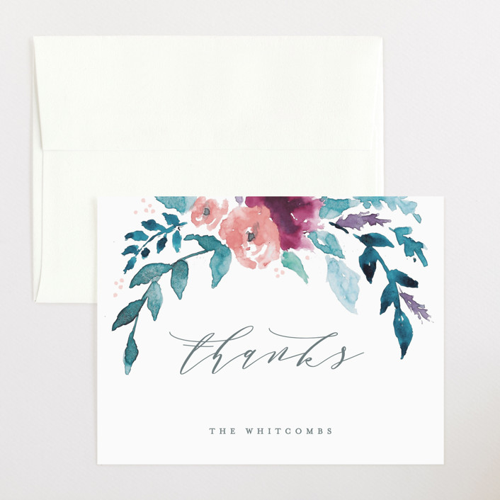 """""""Watercolor Branches"""" - Flat Birth Announcements Thank You Cards in Spring by Karidy Walker."""