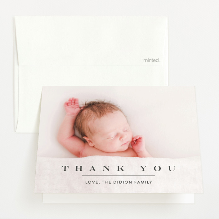 """""""Classic & Serene"""" - Flat Birth Announcements Thank You Cards in Slate by Jennifer Lew."""