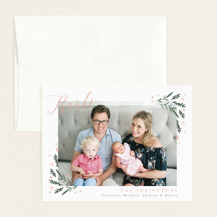"""""""Dainty Botanicals"""" - Flat Birth Announcements Thank You Cards in Petal by Kristie Kern."""