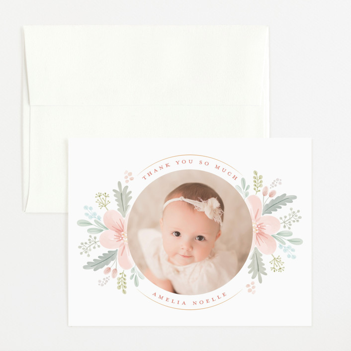"""Darling Posy"" - Flat Birth Announcements Thank You Cards in Blush by Nicole Barreto."
