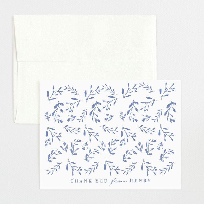 """""""Classic Baby Monogram"""" - Preppy Flat Birth Announcements Thank You Cards in Cobalt Blue by Susan Brown."""