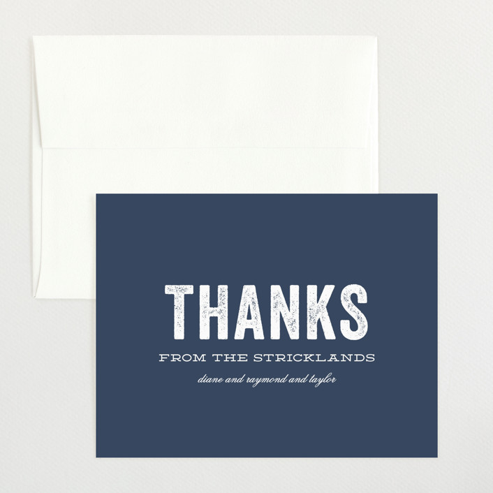 """""""Statement"""" - Flat Birth Announcements Thank You Cards in Marine by Sara Hicks Malone."""