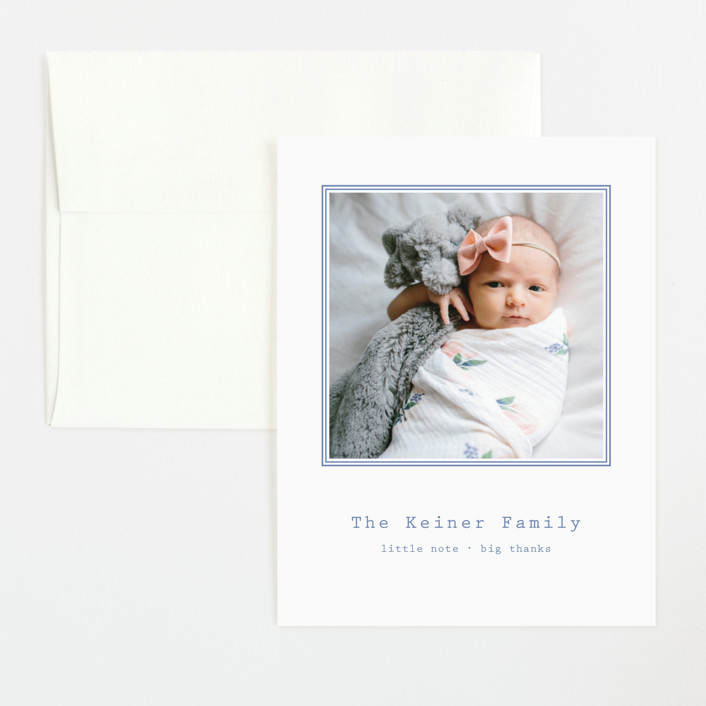 """""""Editor"""" - Preppy Flat Birth Announcements Thank You Cards in Cornflower by Toast & Laurel."""