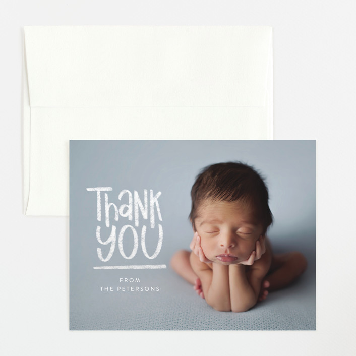 """""""New Kid"""" - Funny Flat Birth Announcements Thank You Cards in Chalk by Amy Payne."""