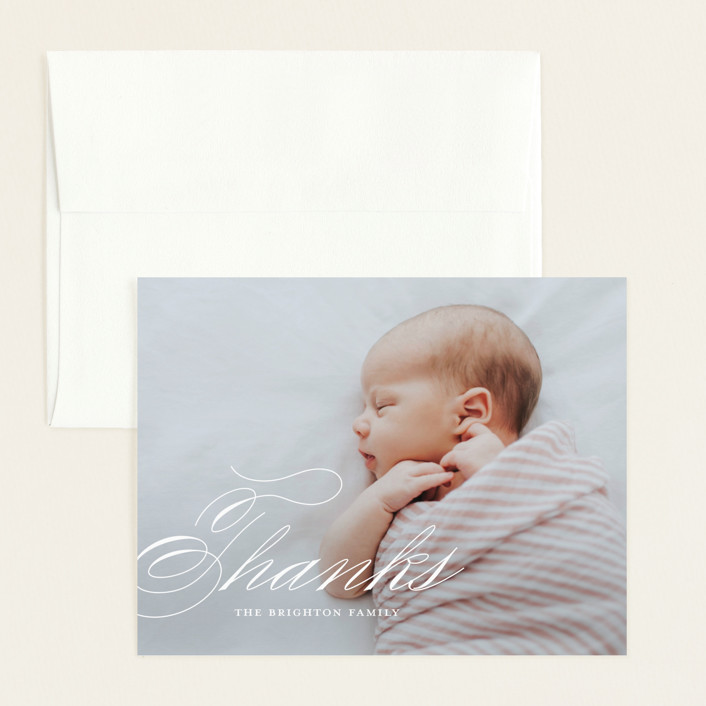 """Precious Script"" - Flat Birth Announcements Thank You Cards in Sugar by Jessica Williams."