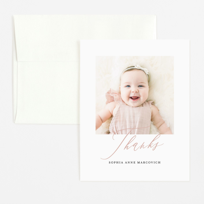 """""""Happy Baby"""" - Flat Birth Announcements Thank You Cards in Peach Bud by Benita Crandall."""