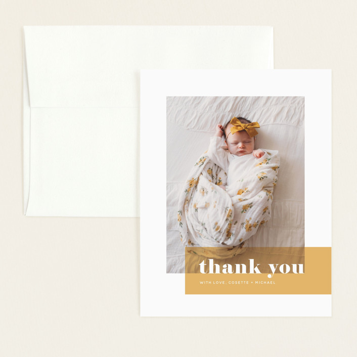 """""""Magazine Block"""" - Modern Flat Birth Announcements Thank You Cards in Marigold by Maria Hilas-Louie."""