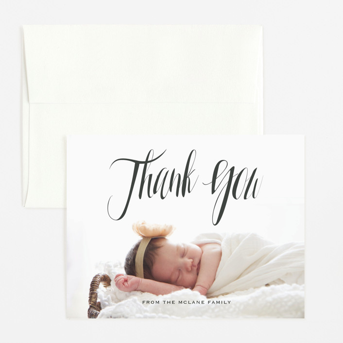 """In the Clouds"" - Modern Flat Birth Announcements Thank You Cards in Slate by Kasia Labocki."