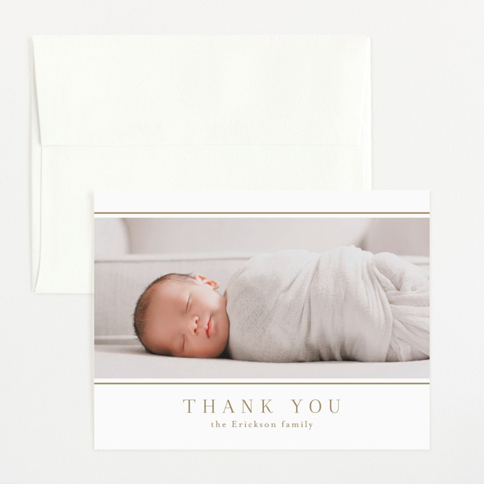 """Lined"" - Flat Birth Announcements Thank You Cards in Sugar by Jessica Williams."
