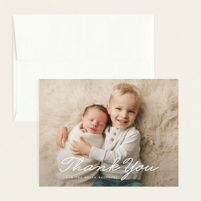 """Oh Brother"" - Funny Flat Birth Announcements Thank You Cards in Snow by Bethany Anderson."