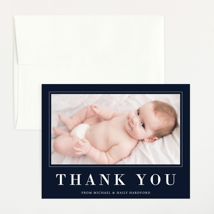 """""""Charmed"""" - Flat Birth Announcements Thank You Cards in Navy by Oma N. Ramkhelawan."""