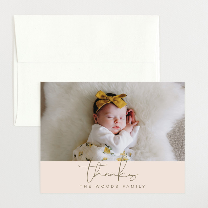 """Signature Babe"" - Modern Flat Birth Announcements Thank You Cards in Peach by Jessica Williams."
