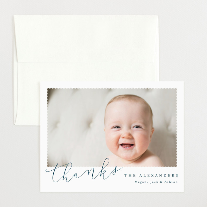 """""""Minimal Modern"""" - Flat Birth Announcements Thank You Cards in Navy by Kristie Kern."""