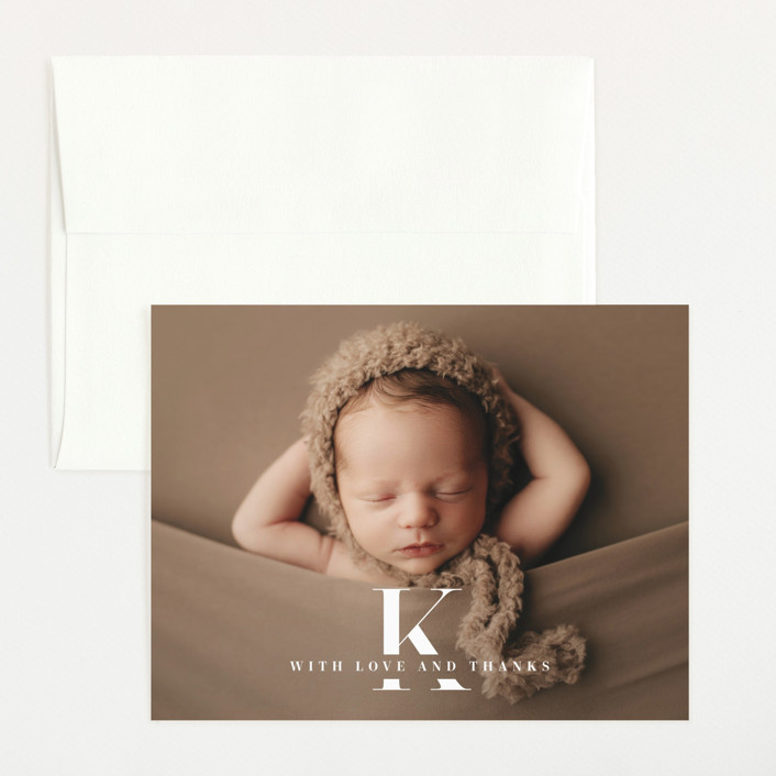 """""""My Monogram"""" - Flat Birth Announcements Thank You Cards in Milk by fatfatin."""