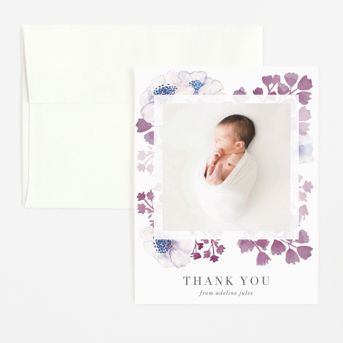"""""""Spring Love"""" - Flat Birth Announcements Thank You Cards in Lime by frau brandt."""