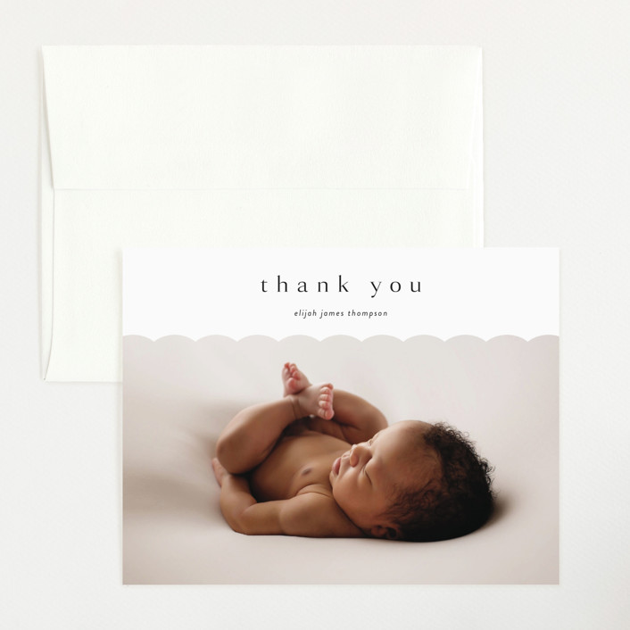 """Sweet Simplicity"" - Preppy Flat Birth Announcements Thank You Cards in Onyx by Kasia Labocki."