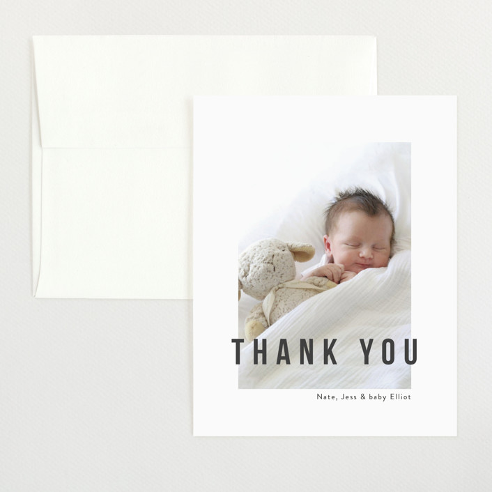 """""""Pure Love"""" - Modern Flat Birth Announcements Thank You Cards in Slate by Kasia Labocki."""