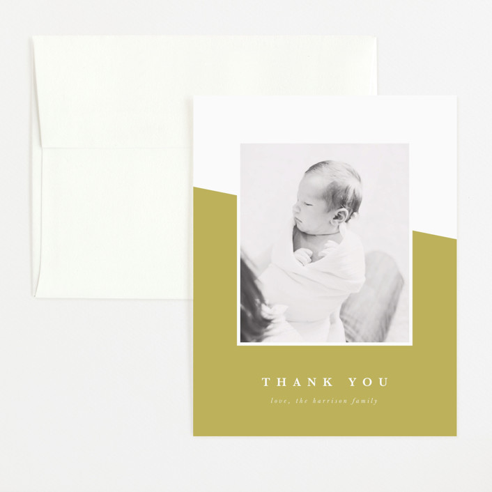 """life"" - Modern Flat Birth Announcements Thank You Cards in Chartreuse by Ekko Studio."