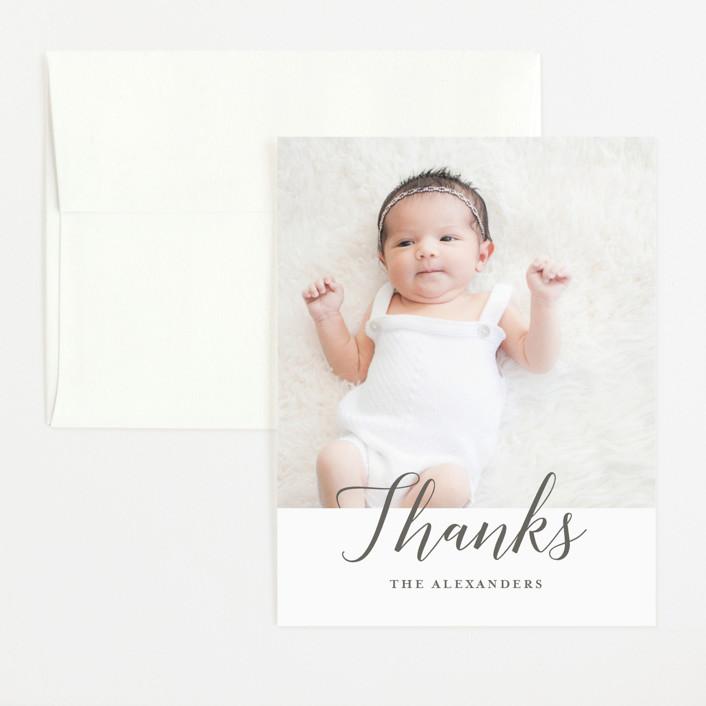 """""""Big Script"""" - Flat Birth Announcements Thank You Cards in Smoke by Genna Blackburn."""