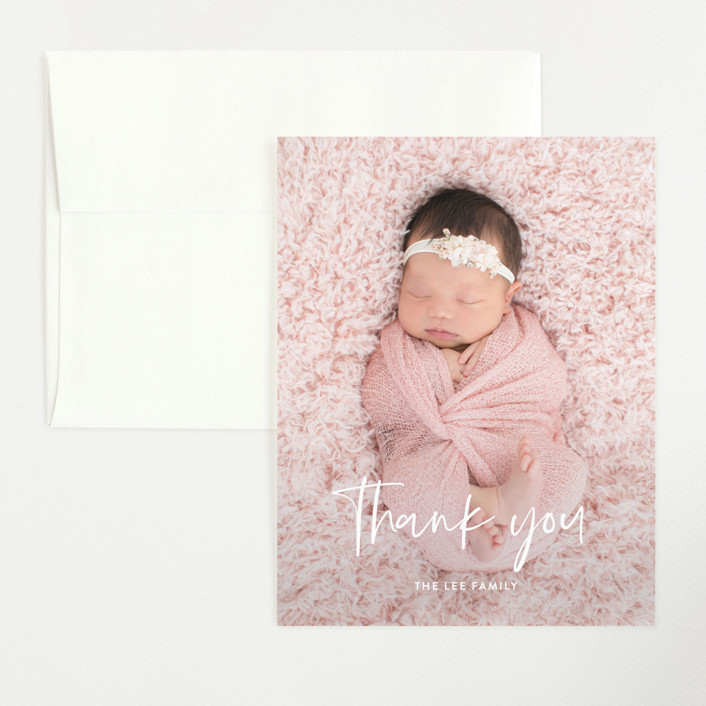 """Say My Name"" - Modern Flat Birth Announcements Thank You Cards in Snow by Yaling Hou Suzuki."