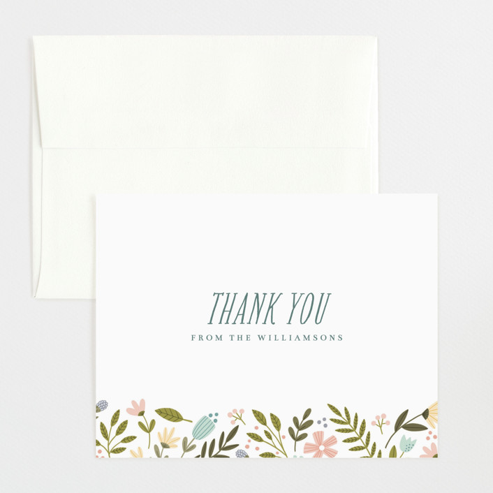 """Little Floral Frame"" - Flat Birth Announcements Thank You Cards in Buttercup by kbecca."