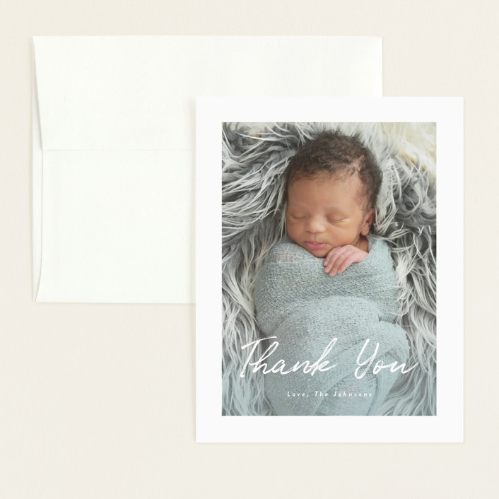 """Helena"" - Modern Flat Birth Announcements Thank You Cards in Pearl by Basil Design Studio."