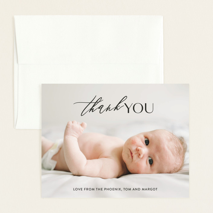 """""""Sweet Introduction"""" - Modern Flat Birth Announcements Thank You Cards in Ink by Chryssi Tsoupanarias."""