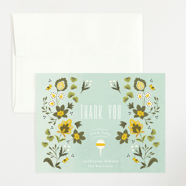 """Introduced by nature"" - Flat Birth Announcements Thank You Cards in Mint by Ana de Sousa."