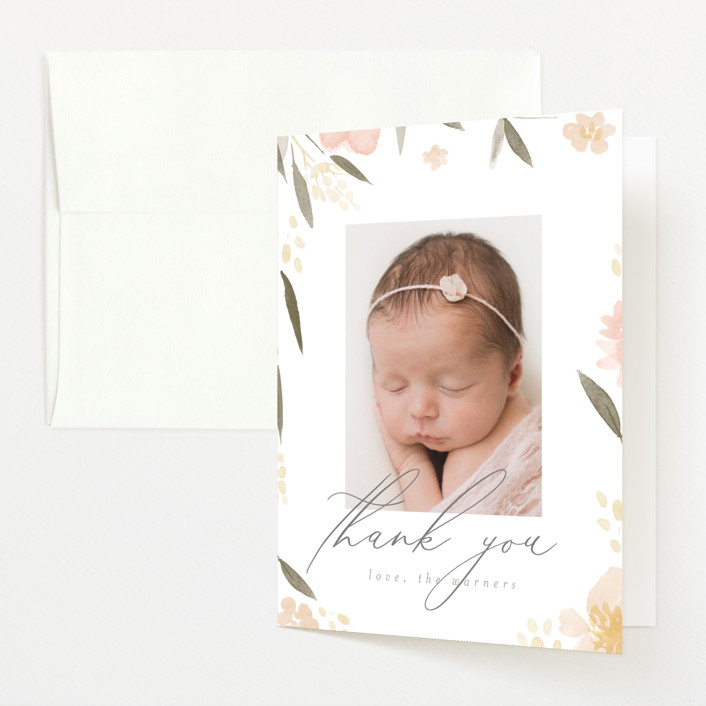 """Fresh Florals"" - Flat Birth Announcements Thank You Cards in Blush by Robert and Stella."