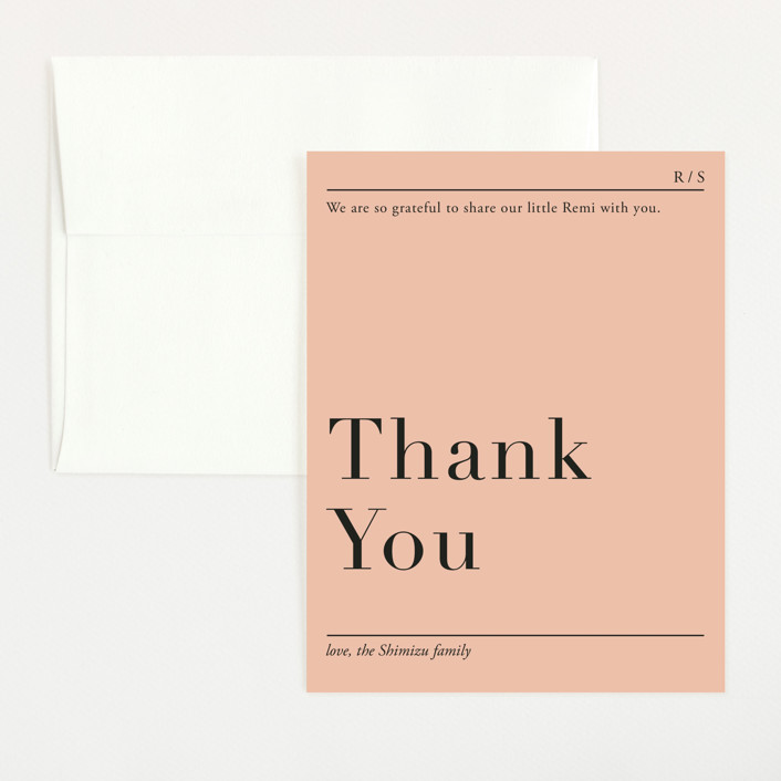 """""""Prologue"""" - Modern Flat Birth Announcements Thank You Cards in Blush by Jennifer Lew."""