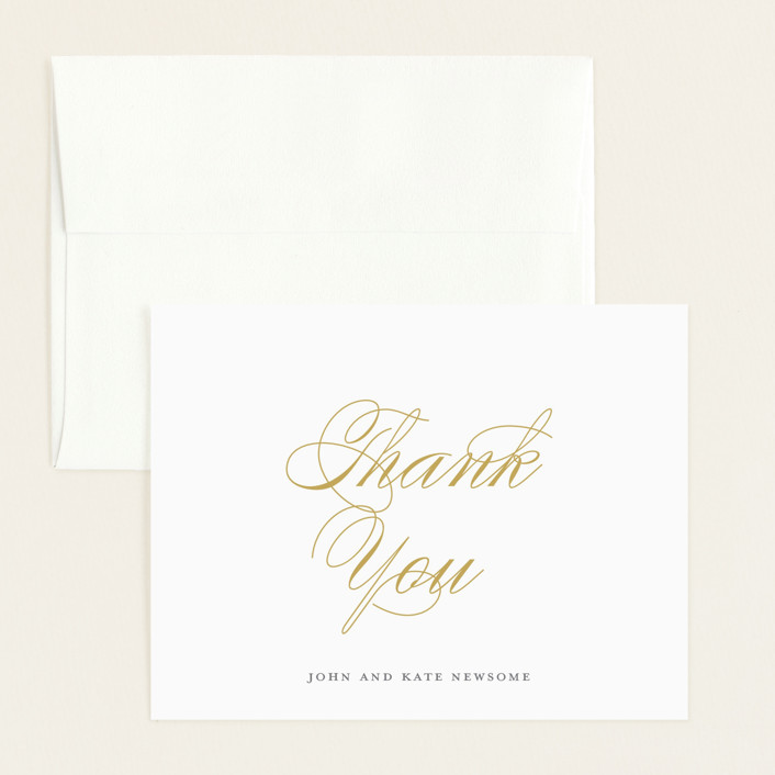 """""""Elegant Trio"""" - Flat Birth Announcements Thank You Cards in Golden by Paper Dahlia."""