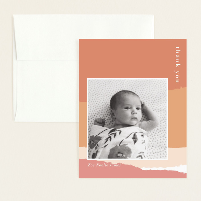 """torn paper"" - Modern Flat Birth Announcements Thank You Cards in Coral by Robin Ott."