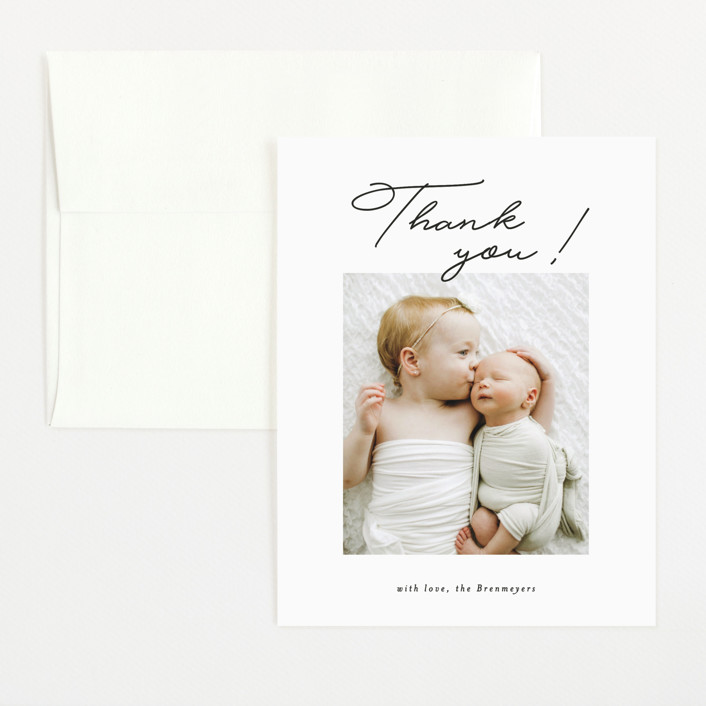 """""""Less Sleep, More Love"""" - Funny Flat Birth Announcements Thank You Cards in Imperial by Itsy Belle Studio."""