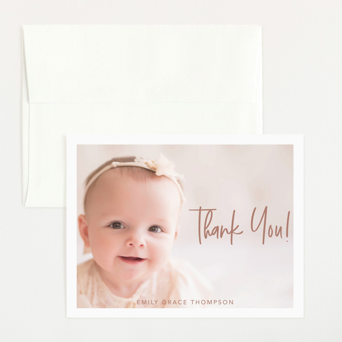 """Elegance in the name"" - Modern Flat Birth Announcements Thank You Cards in Dusty Rose by Lorena Depante."
