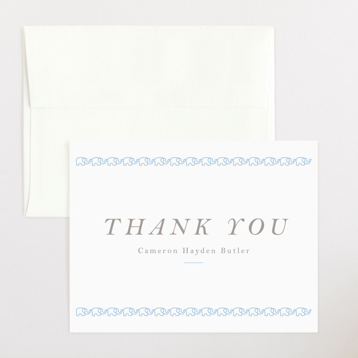"""Petite Elephant"" - Preppy Flat Birth Announcements Thank You Cards in Lake by Toast & Laurel."