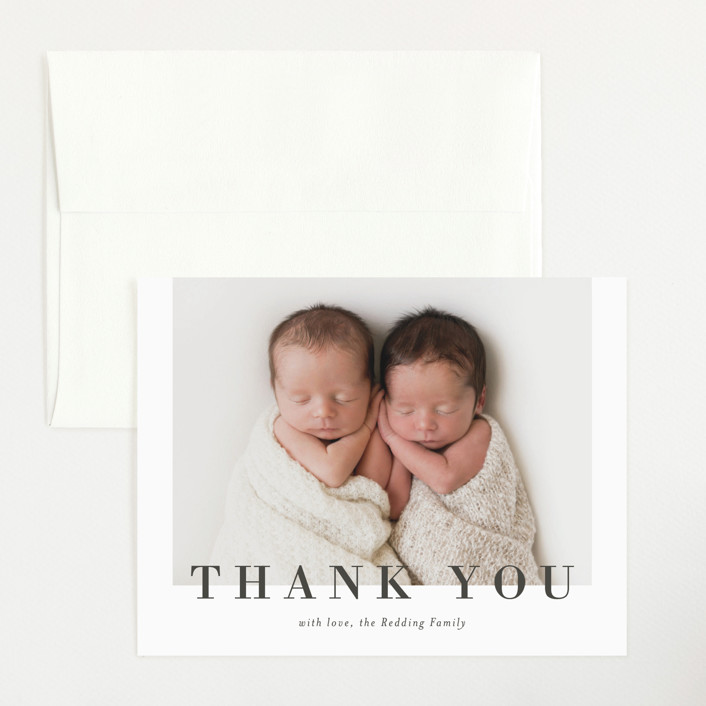 """Two to Love"" - Flat Birth Announcements Thank You Cards in Charcoal by Michelle Taylor."