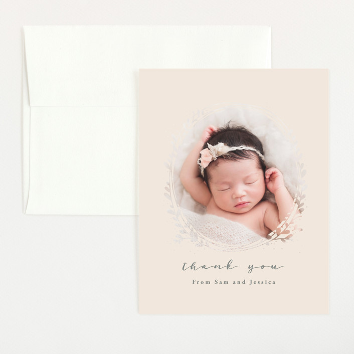 """""""Nest"""" - Flat Birth Announcements Thank You Cards in Ivory by JeAnna Casper."""