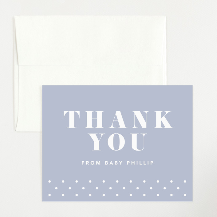"""Bold Capital"" - Preppy Flat Birth Announcements Thank You Cards in Periwinkle by Kristen Smith."