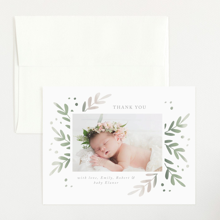 """Foliage Frame"" - Flat Birth Announcements Thank You Cards in Sage by Roopali."
