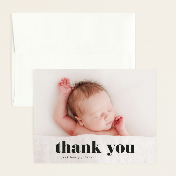 """the name"" - Funny, Modern Flat Birth Announcements Thank You Cards in Noir by Phrosne Ras."