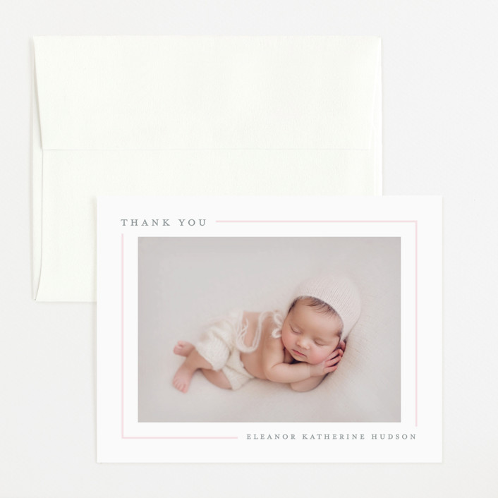 """""""Simply Serene"""" - Preppy Flat Birth Announcements Thank You Cards in Blush by Lauren Chism."""