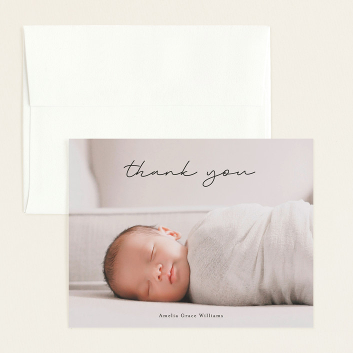 """""""pure grace"""" - Flat Birth Announcements Thank You Cards in Onyx by Kasia Labocki."""
