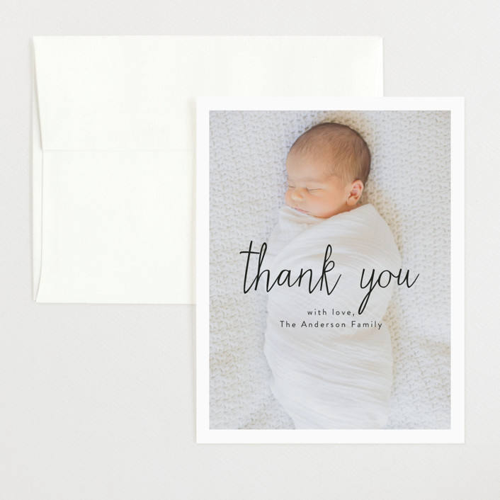 """Norfolk"" - Modern Flat Birth Announcements Thank You Cards in Daisy by Jennifer Lew."