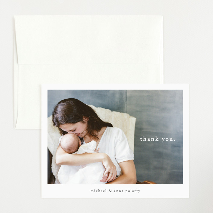 """""""Simple Type"""" - Modern Flat Birth Announcements Thank You Cards in Midnight by Faith Dorn."""