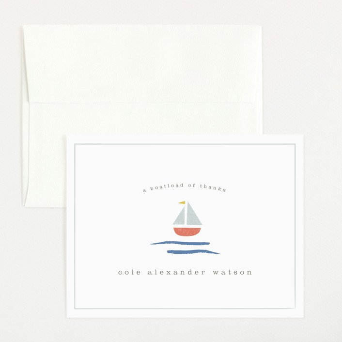 """sailor"" - Preppy Flat Birth Announcements Thank You Cards in Marina by Shannon Hays."