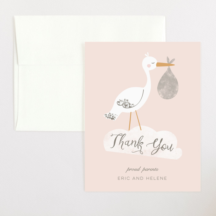 """Baby Stork"" - Whimsical & Funny Flat Birth Announcements Thank You Cards in Blush by peetie design."