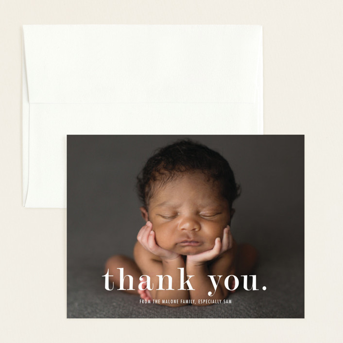 """""""Meeting"""" - Modern Flat Birth Announcements Thank You Cards in Cloud by Up Up Creative."""