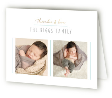 Checkers Foil-Pressed Birth Announcement Thank You Cards
