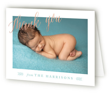 No Fuss Foil-Pressed Birth Announcement Thank You Cards
