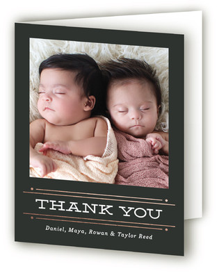 Twin Lines Foil-Pressed Birth Announcement Thank You Cards
